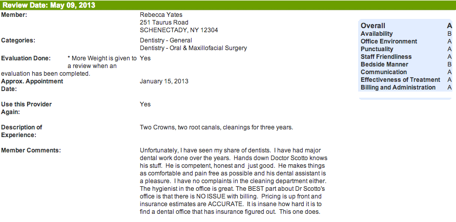 Schenectady dentist review